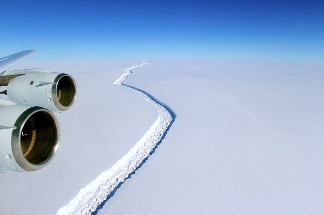 A Nov. 10, 2016 aerial photo released by NASA shows a rift in the Antarctic Peninsula's Larsen C ice shelf.