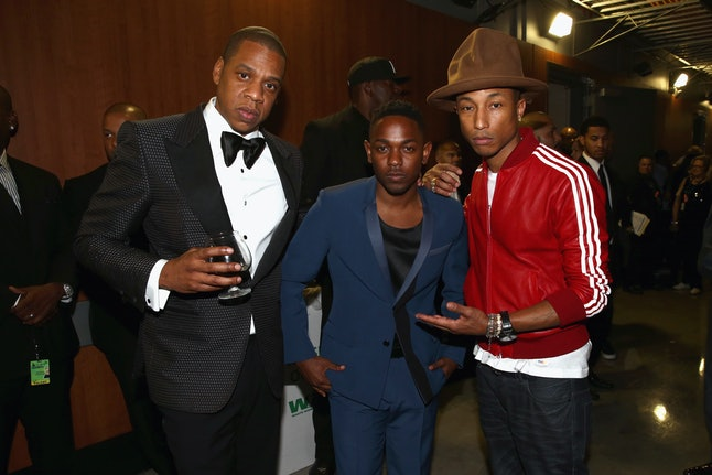 Artists Jay Z, Kendrick Lamar and Pharrell Williams at the 56th Grammy Awards at the Staples Center on Jan. 26, 2014, in Los Angeles
