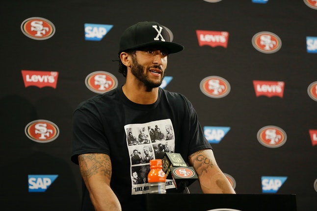 Colin Kaepernick hold a press conference after a game in San Francisco.
