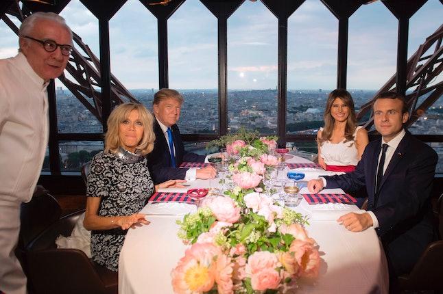 Brigitte Macron, Emmanuel Macron, Donald Trump and Melania Trump all at dinner in the Eiffel Tower