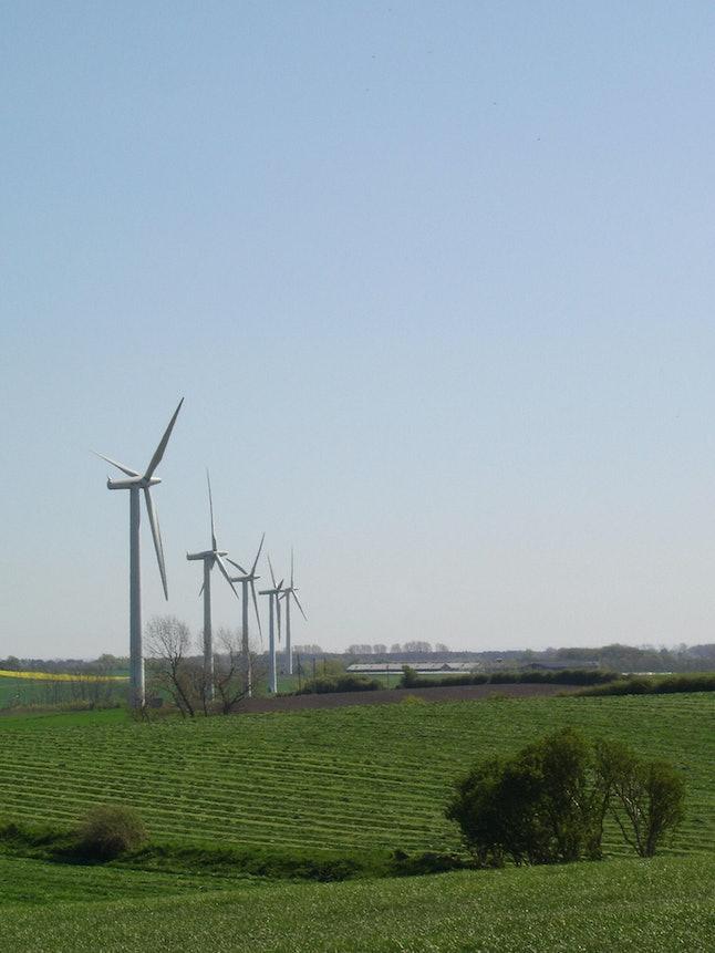 Wind-powered turbines in Samsø, Denmark