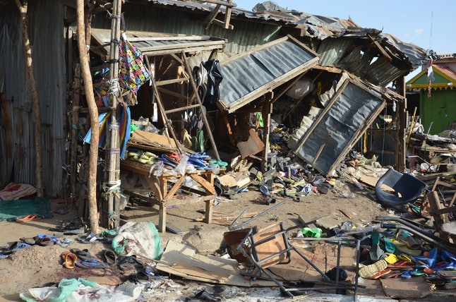 market in the Nigerian city Maiduguri after a suicide bombing by Boko Haram