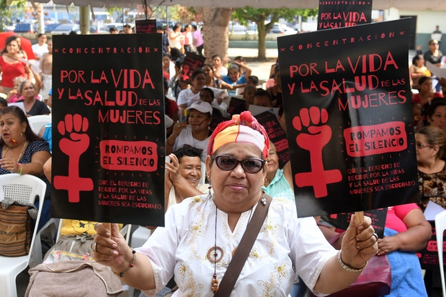 El Salvadoran women protest the country's total abortion ban in a San Salvador protest in February 2017.