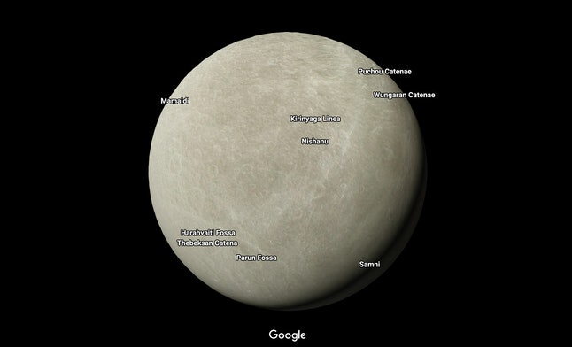 "Rhea, a ""small, cold, airless"" moon of Saturn, on Google Maps"