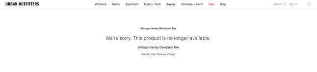 The new defunct landing page for Urban Outfitters' Vintage Harley Davidson Tee