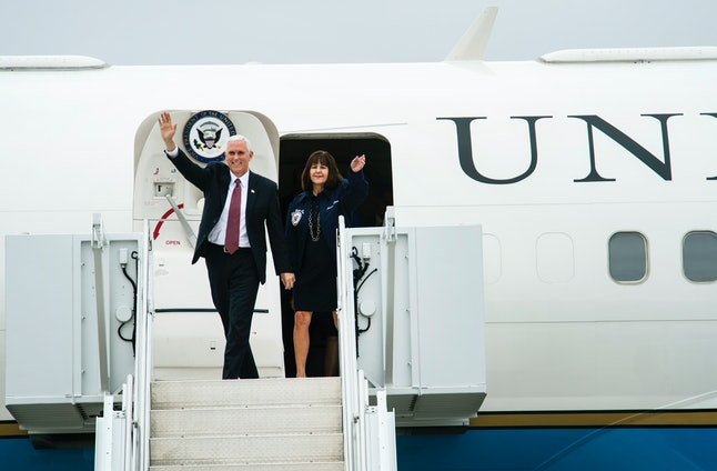 Vice President Mike Pence and his wife, Karen, arrive for a visit to Colorado Springs, Colorado, in June.