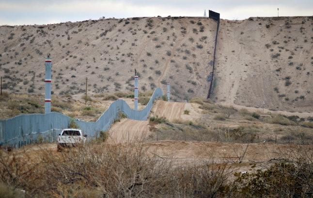 A U.S. Border Patrol agent drives near the U.S.-Mexico border fence in Sunland Park, New Mexico.
