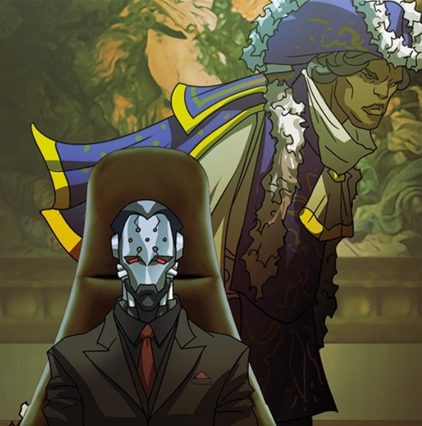"Maximilien and a dapper-looking Doomfist in the 'Overwatch' comic ""Masquerade"""