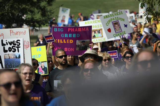 Advocates march in Washington, D.C., to ask Congress for funding to address the opioid crisis in September 2016.