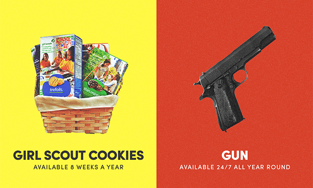 It's trickier to get Thin Mints than it is to get a gun.