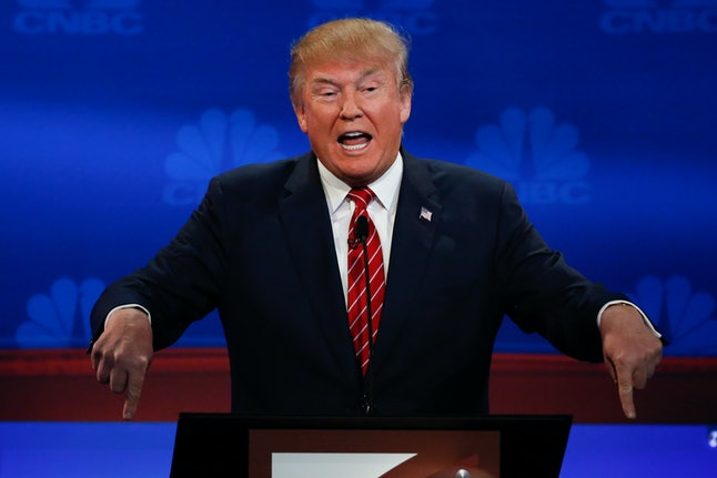 Business magnate and GOP presidential hopeful Donald Trump at the third Republican debate.