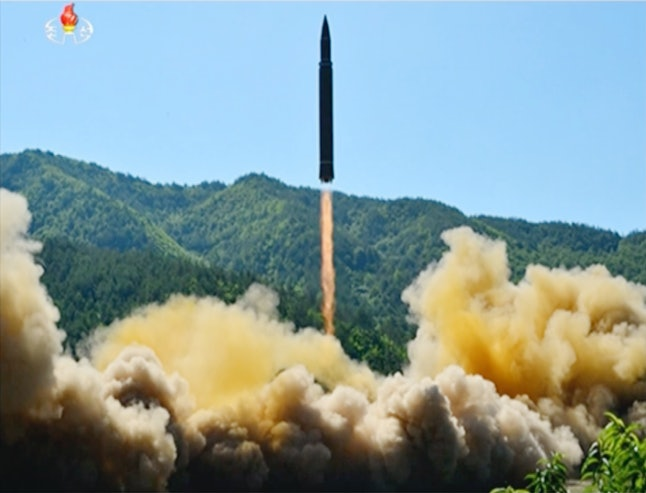 A still from video of a news bulletin aired by North Korea's KRT on Tuesday, July 4, shows what was said to be the launch of a Hwasong-14 intercontinental ballistic missile, ICBM, in North Korea's northwest.