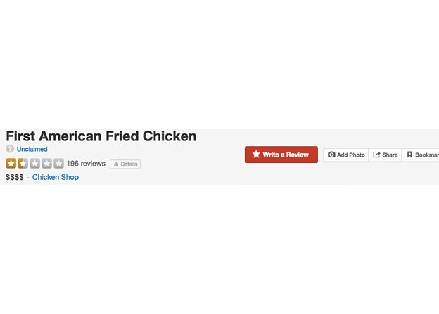 First American Fried Chicken's current score on Yelp