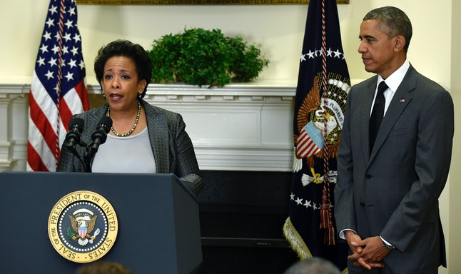 President Barack Obama listens as U.S. Attorney Loretta Lynch speaks after Obama nominated Lynch to be the Attorney General on Nov. 8 in the Roosevelt Room of the White House.