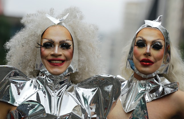 Revelers at the annual Gay Pride parade in Sao Paulo