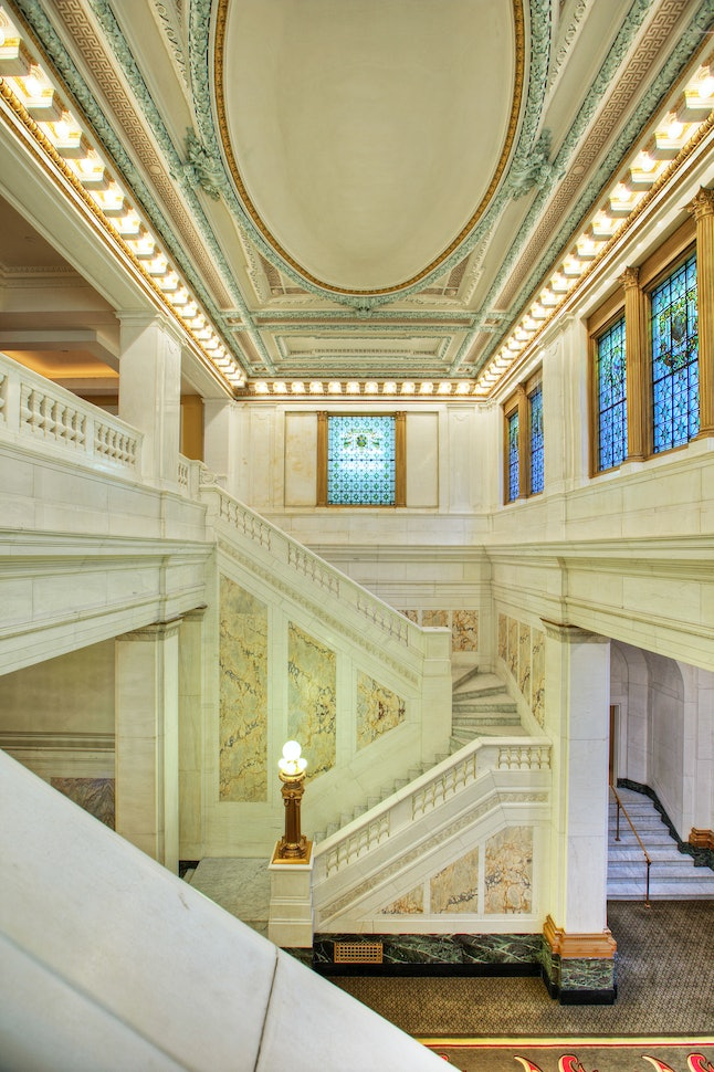 A historic marble staircase at the Hotel Monaco Baltimore