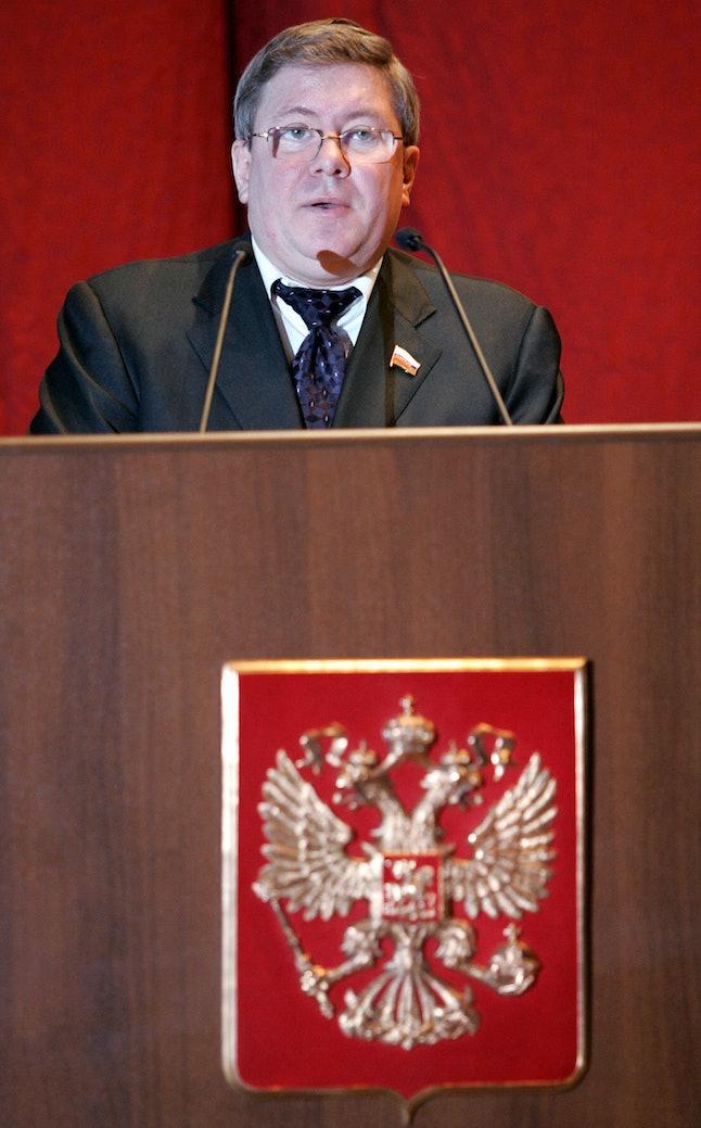 Alexander Torshin speaks in Moscow in Dec. 2005.
