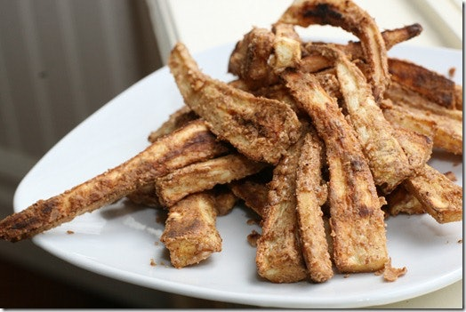 Nut butter crusted parsnip fries