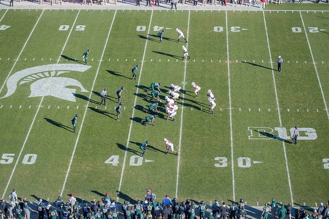 Michigan State University and Rutgers University face off in a November 2016 game.