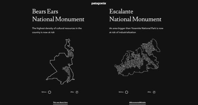Patagonia's visualization of Trump's decision