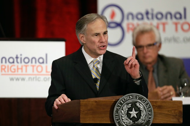 Texas Gov. Greg Abbott delivers comments at the 43rd Annual National Right to Life Convention as Texas Attorney General in 2013.