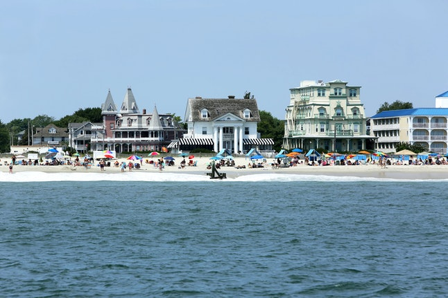 Victorian mansions on the shore in Cape May