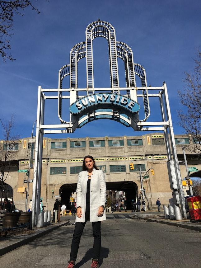 Congressional Candidate Alexandria Ocasio-Cortez beneath the Sunnyside arch in New York's 14th congressional district.