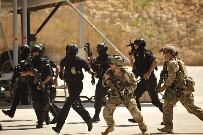 Special operations forces from the US and Jordan conduct a war games with Iraqi commandos on June 20, 2014.