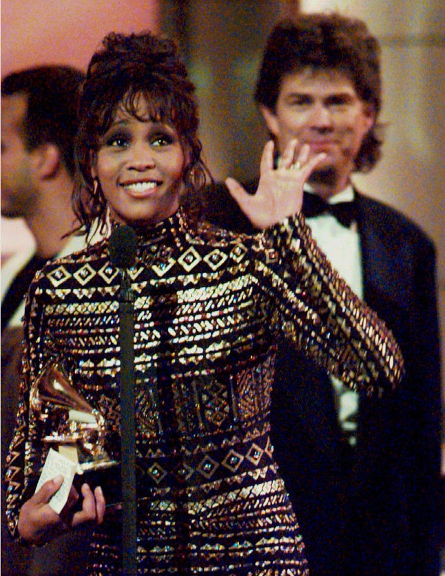 Whitney Houston at the 36th Annual Grammy Awards in New York, March 1, 1994.