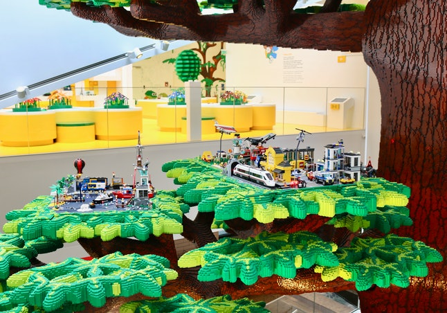 A display at the entrance of the Lego House