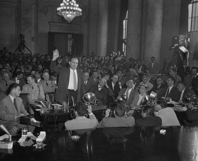 Sen. Joe McCarthy swears to tell the truth as a witness in his row with Army officials, May 5, 1954.  He was called to answer questions about a disputed memorandum from the FBI to the Army.