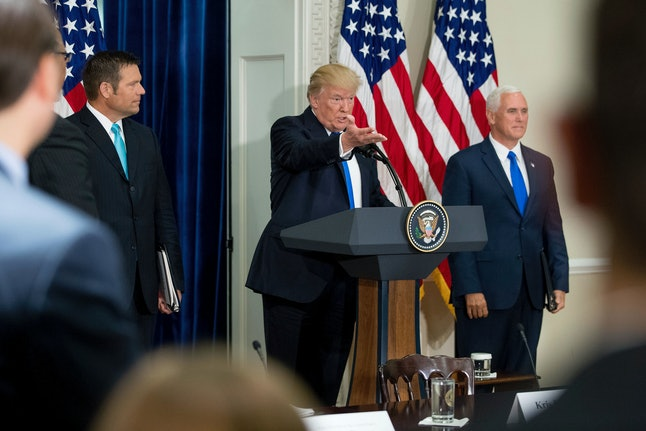 President Donald Trump speaks at the first meeting of the Presidential Advisory Commission on Election Integrity.