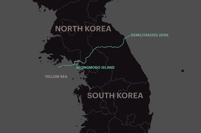 Seongmodo Island is located about 7.5 miles from the closest tip of North Korean shore, according to measurements by Google Maps. The Demilitarized Zone is the official border that divides North and South Korea.