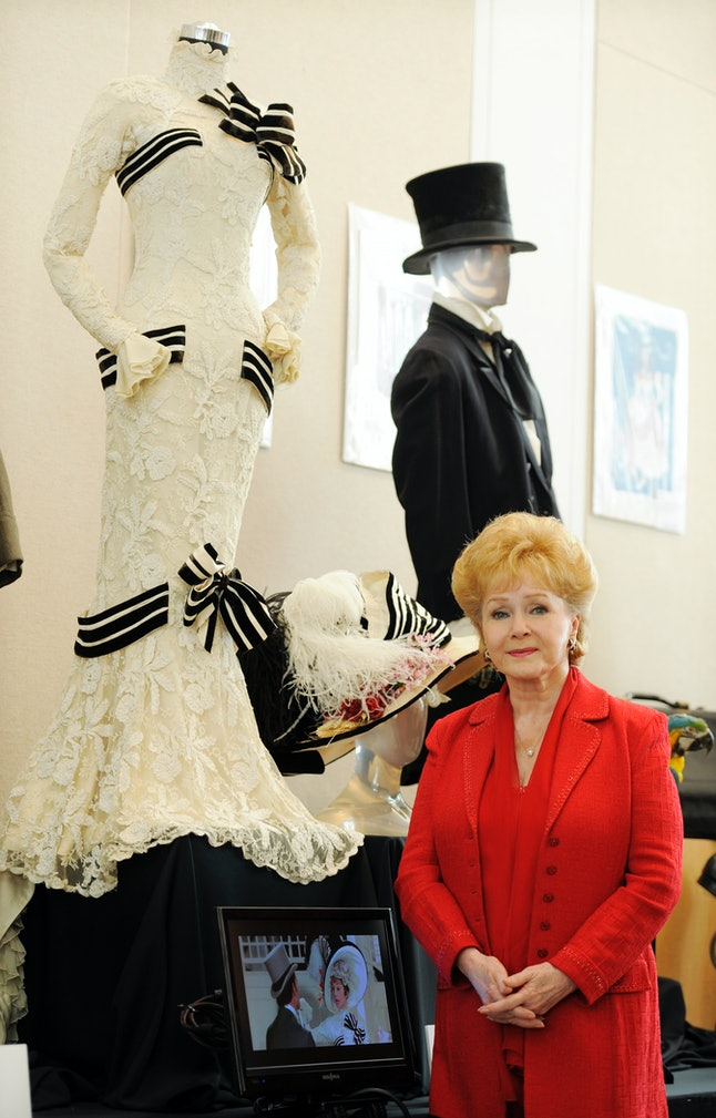 Debbie Reynolds in front of the 'My Fair Lady' dress
