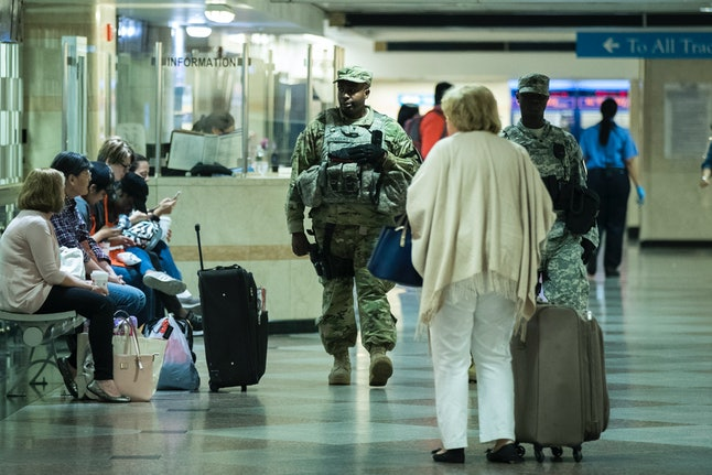 Members of the New York Army National Guard patrol in Penn Station on June 5 in New York City.
