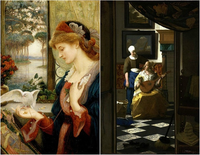 Left: 'Love's Messenger' (1885) by Marie Spartali Stillman. Right: 'The Love Letter' (1669) by Johannes Vermeer.