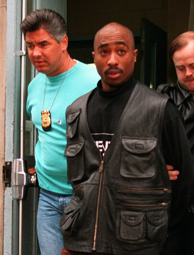 Tupac Shakur during his arrest for sexual assault in November 1993