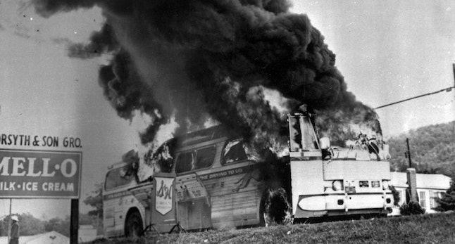 A Freedom Rider bus firebombed in Anniston, Alabama