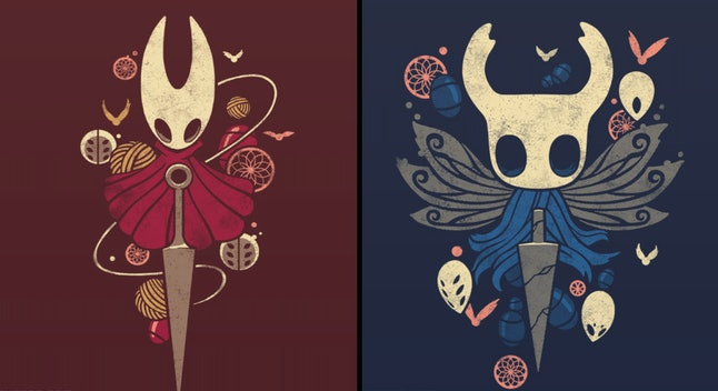 Shirt designs for main characters of Hollow Knight