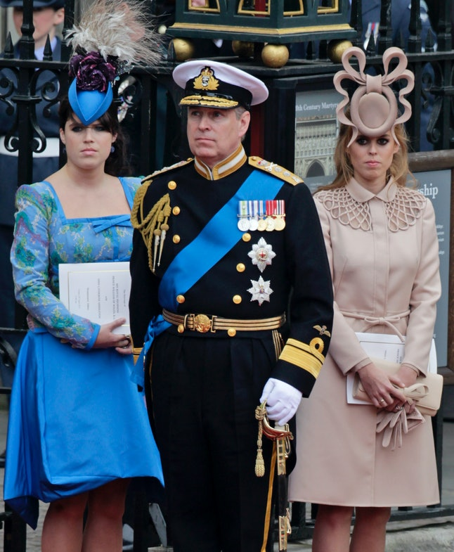 Prince Andrew and his wonderfully behatted offspring on William and Kate's wedding day.