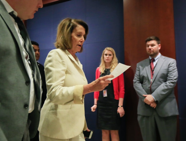 House Minority Leader Nancy Pelosi at the Capitol on Wednesday