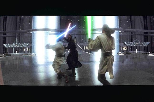 Obi-Wan Kenobi and Qui-Gon Jinn battle Darth Maul.