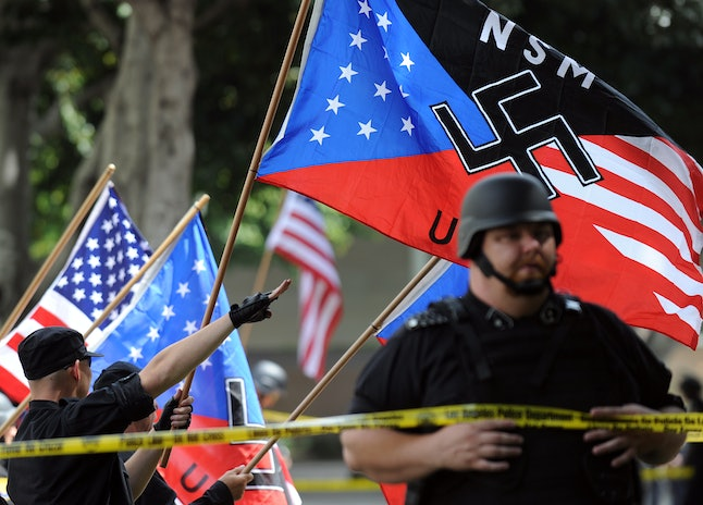 In 2010, the National Socialist Movement held a neo-Nazi rally in Los Angeles to protest immigration.