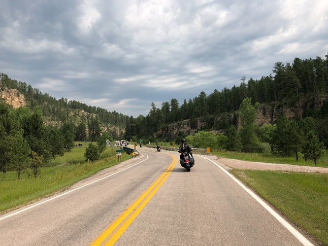 A morning group ride through Black Hills National Forest
