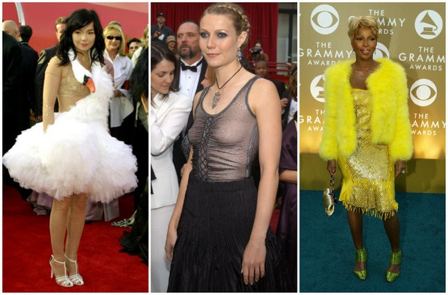 (L-R): Björk at the 2001 Oscars, Gwyneth Paltrow at the 2002 Oscars and Mary J. Blige at the 2004 Grammys