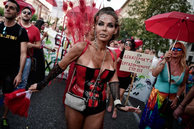 People at the Gay Pride parade in Athens, Greece