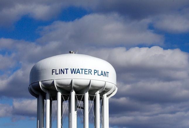 The Flint Water Plant water tower in Flint, Michigan.