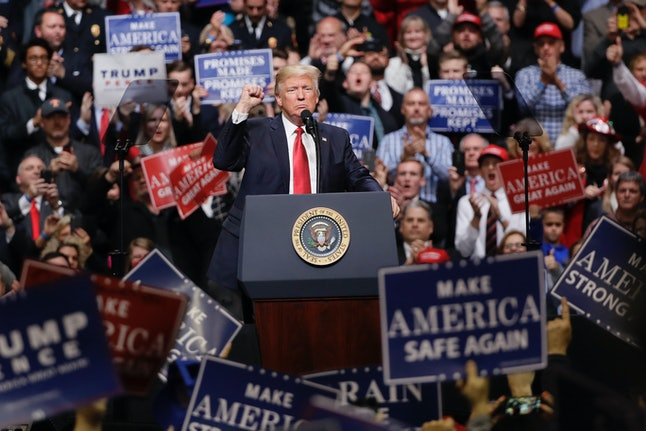 President Donald Trump speaks at a rally Wednesday in Nashville, Tenn.