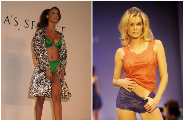 Tyra Banks in 1996 and Rebecca Romijn in 1997