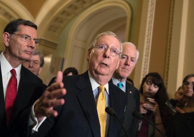 Senate Majority Leader Mitch McConnell (R-Ky.) flanked by Sen. John Barrasso (R-Wyo), left, and Majority Whip John Cornyn (R-Texas).